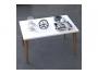 Τραπέζι σαλονιού Zahar λευκό-καφέ 72x45x42εκ  120-000133 - 3