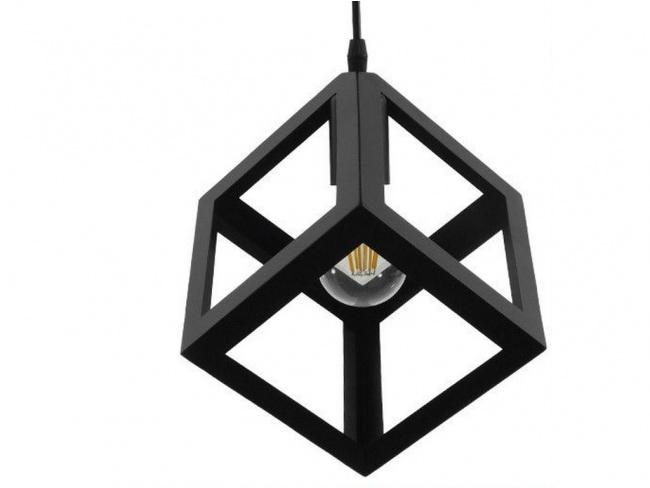 Μοντέρνο Κρεμαστό Φωτιστικό Οροφής Μονόφωτο Μαύρο Μεταλλικό Πλέγμα Φ25 CUBE 01015