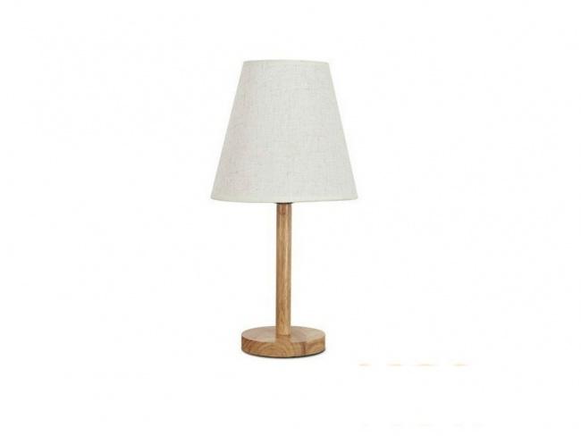 Μοντέρνο Επιτραπέζιο Φωτιστικό Πορτατίφ Μονόφωτο Ξύλινο με Λευκό Καπέλο Φ21 NAPHIE 01208
