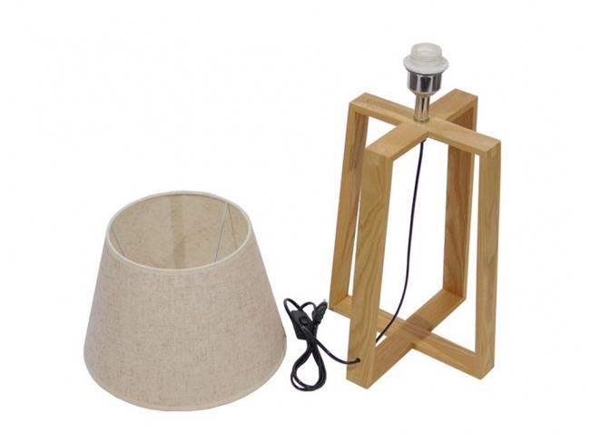 Μοντέρνο Επιτραπέζιο Φωτιστικό Πορτατίφ Μονόφωτο Ξύλινο με Μπεζ Καπέλο Φ30 SQUID 01265