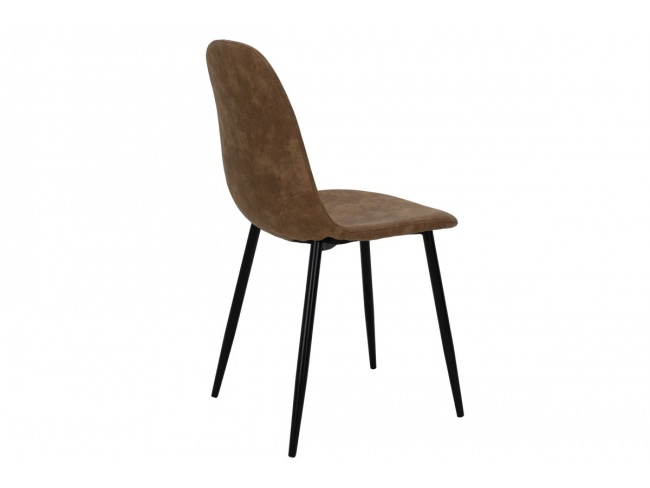 Καρέκλα Bella μεταλλική μαύρη με pu antique καφέ  029-000014 - 2
