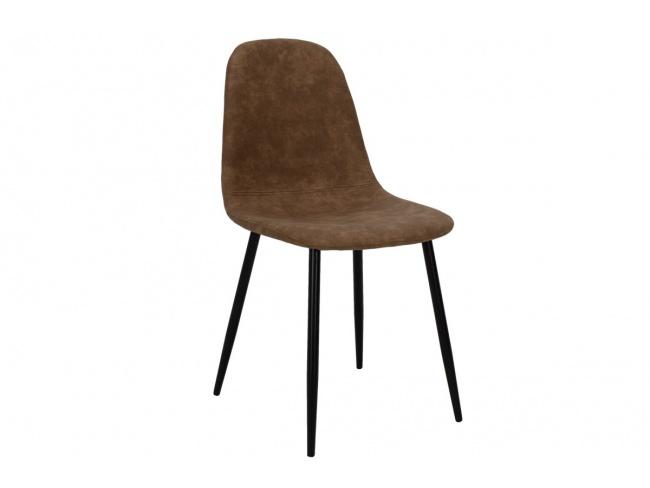 Καρέκλα Bella μεταλλική μαύρη με pu antique καφέ  029-000014 - 1