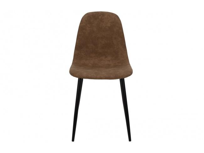 Καρέκλα Bella μεταλλική μαύρη με pu antique καφέ  029-000014 - 3
