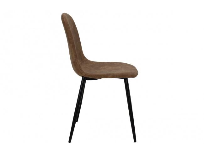 Καρέκλα Bella μεταλλική μαύρη με pu antique καφέ  029-000014 - 4