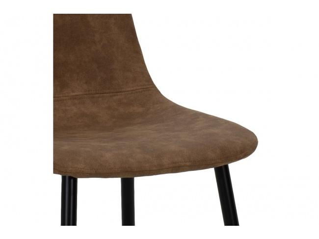 Καρέκλα Bella μεταλλική μαύρη με pu antique καφέ  029-000014 - 6