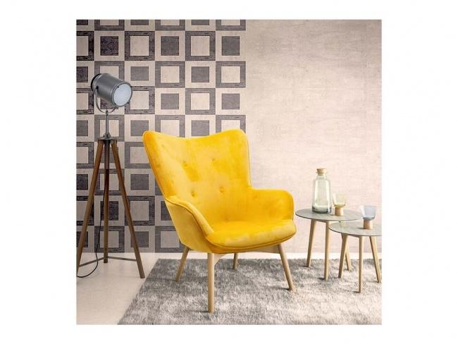 Πολυθρόνα Kido υφασμάτινη βελούδο χρώμα κίτρινο 046-000003