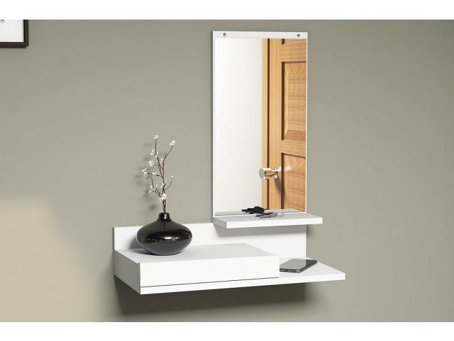 Κονσόλα τοίχου Mode Coat  με καθρέφτη λευκό χρώμα 60x30x80 055-000043 - 4