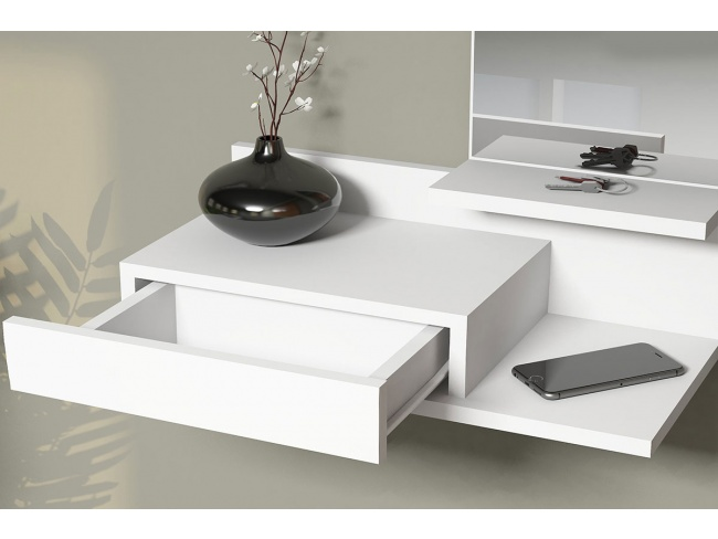 Κονσόλα τοίχου Mode Coat  με καθρέφτη λευκό χρώμα 60x30x80 055-000043 - 3