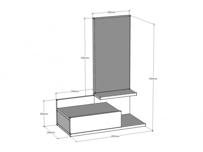 Κονσόλα τοίχου Mode Coat  με καθρέφτη λευκό χρώμα 60x30x80 055-000043 - 2