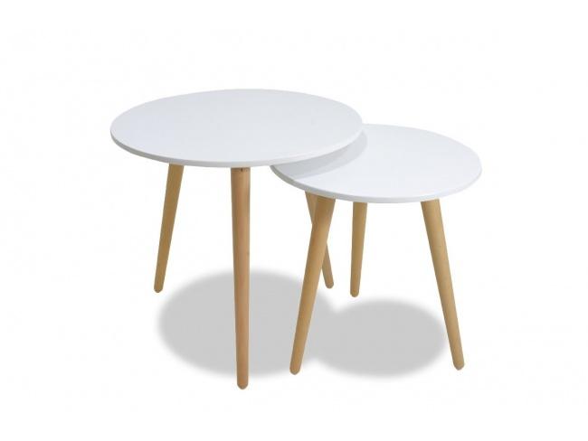 Βοηθητικά τραπέζια σαλονιού SMITH  σετ 2τμχ χρώμα λευκό ματ-φυσικό 058-000001 - 5