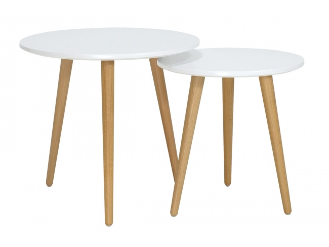 Βοηθητικά τραπέζια σαλονιού SMITH  σετ 2τμχ χρώμα λευκό ματ-φυσικό 058-000001 - 2