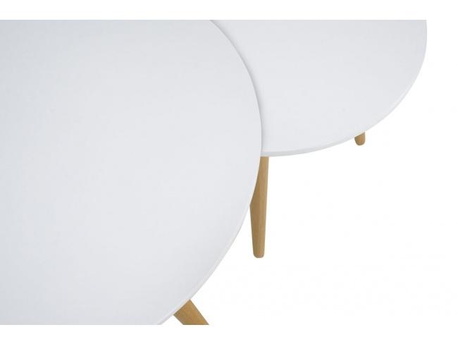 Βοηθητικά τραπέζια σαλονιού SMITH  σετ 2τμχ χρώμα λευκό ματ-φυσικό 058-000001 - 4