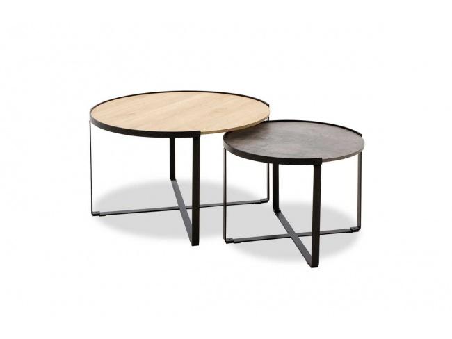 Τραπέζια σαλονιού Rebo  σετ 2 τεμ χρώματος γκρι cement -φυσικό 058-000010 - 4