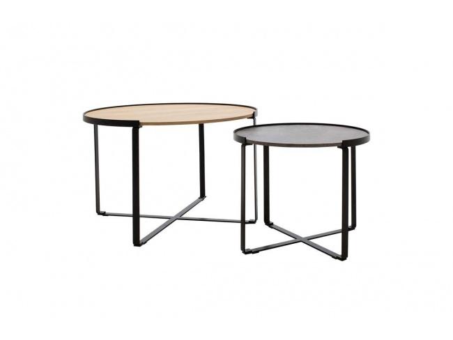 Τραπέζια σαλονιού Rebo  σετ 2 τεμ χρώματος γκρι cement -φυσικό 058-000010 - 1