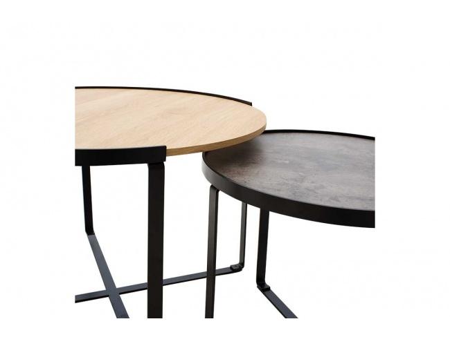 Τραπέζια σαλονιού Rebo  σετ 2 τεμ χρώματος γκρι cement -φυσικό 058-000010 - 2