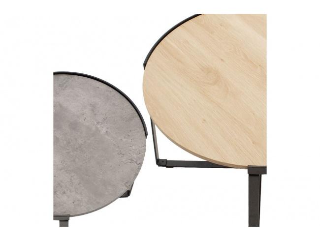 Τραπέζια σαλονιού Rebo  σετ 2 τεμ χρώματος γκρι cement -φυσικό 058-000010 - 3