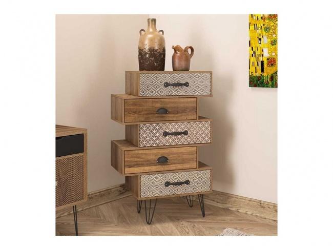 Συρταριέρα Boho pakoworld με πέντε συρτάρια καρυδί μεταλλικά πόδια 59x32x90εκ.  066-000001