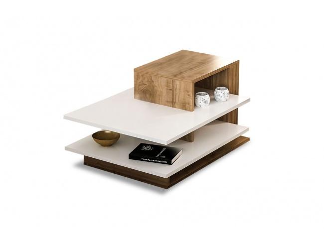 Τραπέζι σαλονιού χρώμα καρυδί - λευκό 85x60x43.5εκ  071-000881 - 1