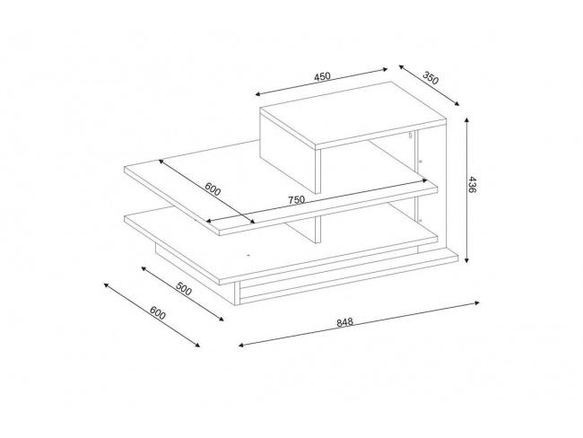 Τραπέζι σαλονιού χρώμα καρυδί - λευκό 85x60x43.5εκ  071-000881 - 3