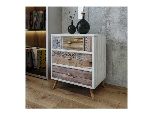 Συρταριέρα PWF-0320 pakoworld χρώμα λευκό γκρι-καρυδί 50x35x60 εκ.  071-000897