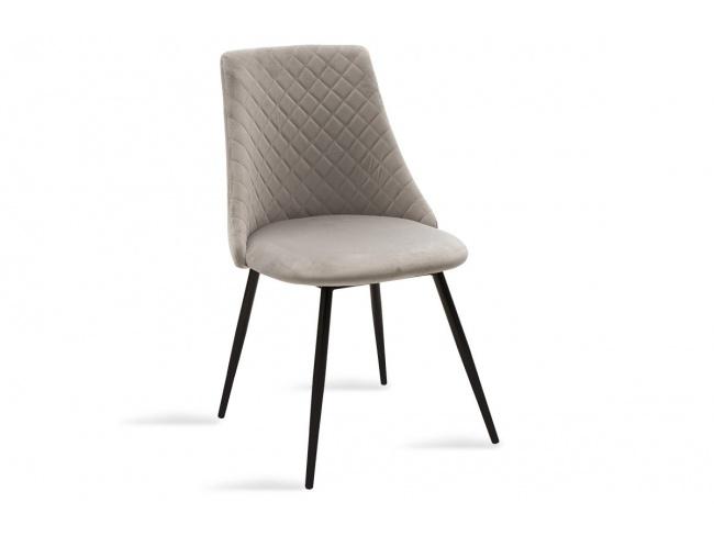 Καρέκλα Giselle 096-000021  ύφασμα βελουτέ γκρι με μαυρα μεταλικα ποδια 82Χ52Χ51 - 1