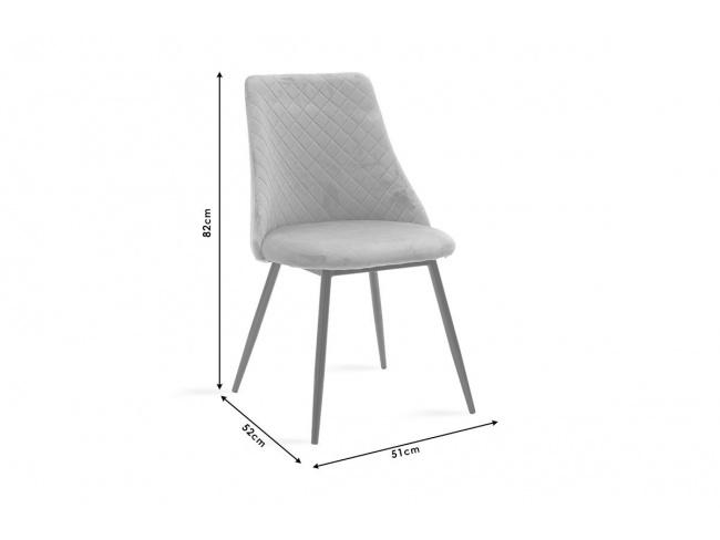Καρέκλα Giselle 096-000021  ύφασμα βελουτέ γκρι με μαυρα μεταλικα ποδια 82Χ52Χ51 - 7