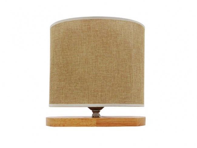 Μοντέρνο Επιτραπέζιο Φωτιστικό Πορτατίφ Μονόφωτο Ξύλινο με Μπέζ Καπέλο CHIARA 01241