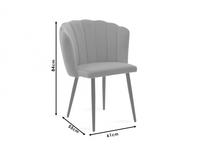 Καρέκλα Esme μεταλλική  με βελούδο γκρι  101-000012 - 6