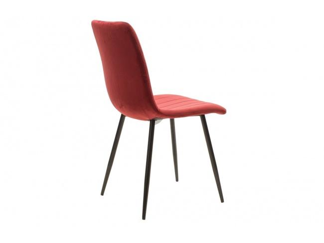 Καρέκλα Noor μεταλλική μαύρη με βελούδο σκουρο κοκκινο 101-000034 - 2