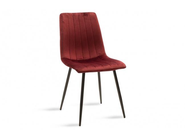 Καρέκλα Noor μεταλλική μαύρη με βελούδο σκουρο κοκκινο 101-000034 - 1