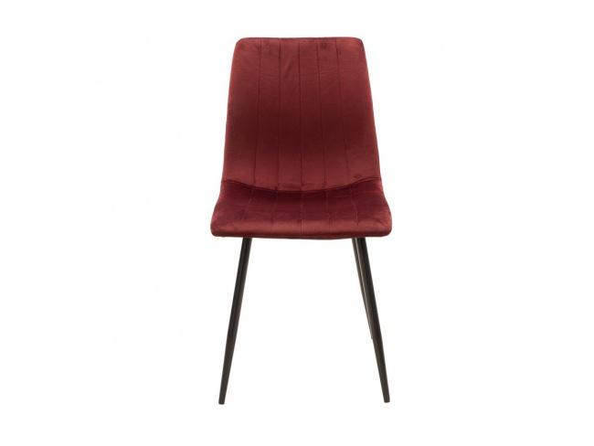 Καρέκλα Noor μεταλλική μαύρη με βελούδο σκουρο κοκκινο 101-000034 - 4