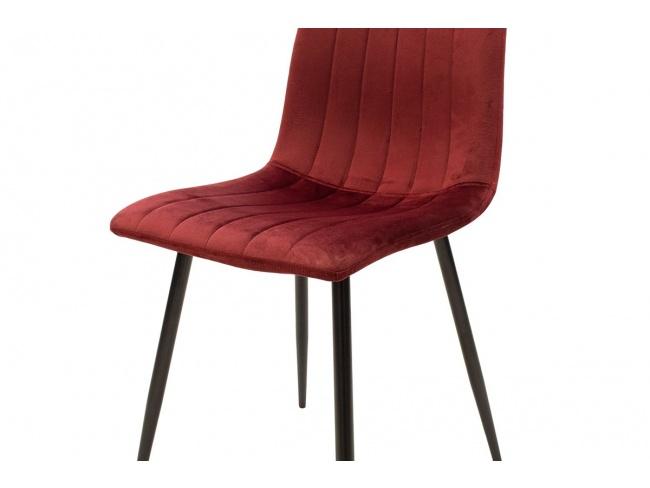 Καρέκλα Noor μεταλλική μαύρη με βελούδο σκουρο κοκκινο 101-000034 - 6