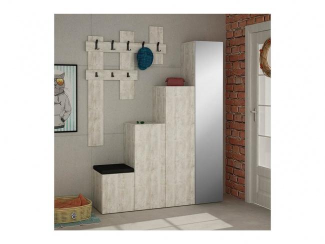Έπιπλο εισόδου-παπουτσοθήκη UP pakoworld 10 ζεύγων κρεμάστρα antique λευκό 150x37x180 εκ.  119-000658