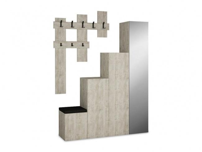 Έπιπλο εισόδου-παπουτσοθήκη UP  10 ζεύγων κρεμάστρα antique λευκό 150x37x180 εκ.  119-000658 - 4