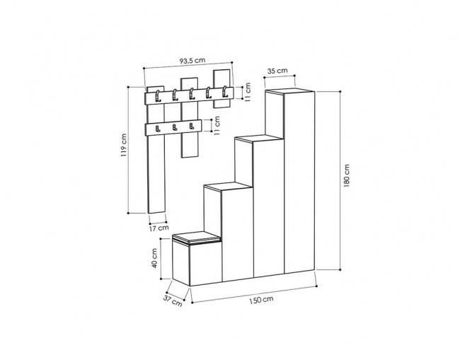 Έπιπλο εισόδου-παπουτσοθήκη UP  10 ζεύγων κρεμάστρα antique λευκό 150x37x180 εκ.  119-000658 - 3