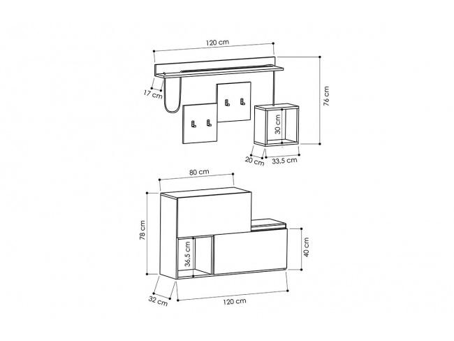 Έπιπλο εισόδου-παπουτσοθήκη HOLDON  12 ζεύγων ανθρακί-φυσικό 120x32x78 119-000667 - 4
