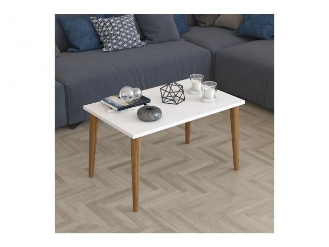 Τραπέζι σαλονιού Zahar λευκό-καφέ 72x45x42εκ  120-000133 - 2