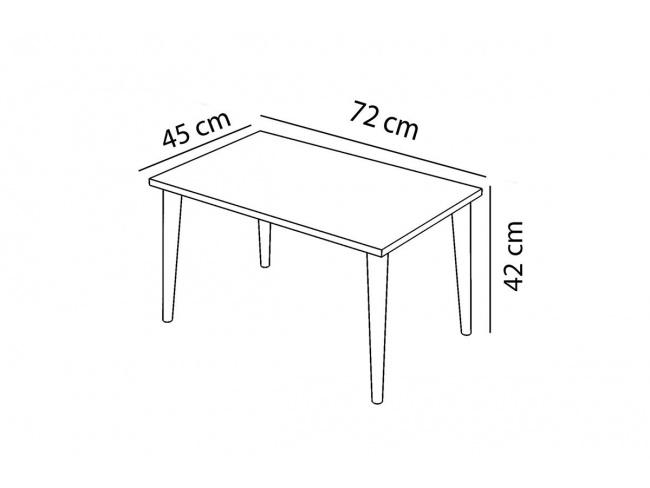 Τραπέζι σαλονιού Zahar λευκό-καφέ 72x45x42εκ  120-000133 - 4