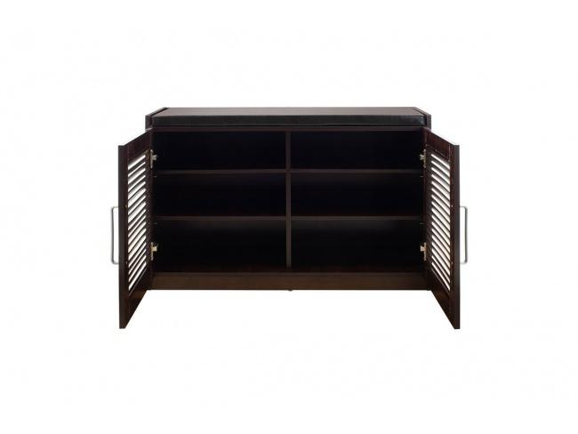 Παπουτσοθήκη-Σκαμπό Crispy 9 ζεύγων χρώμα σκούρο καρυδί με μαξιλάρι 94x34,5x60εκ 123-000140 - 2