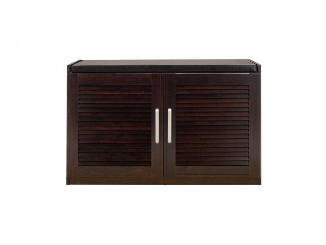 Παπουτσοθήκη-Σκαμπό Crispy 9 ζεύγων χρώμα σκούρο καρυδί με μαξιλάρι 94x34,5x60εκ 123-000140 - 1