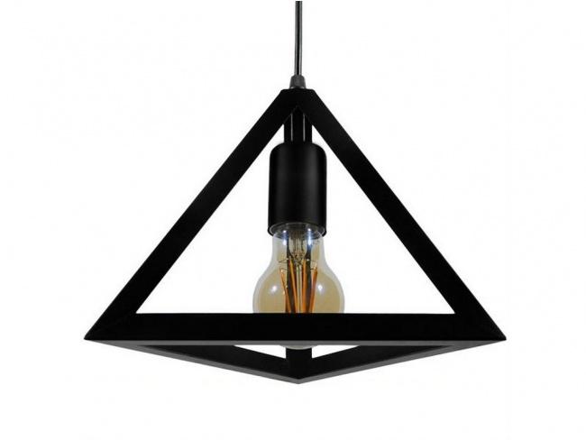 Μοντέρνο Κρεμαστό Φωτιστικό Οροφής Μονόφωτο Μαύρο Μεταλλικό Πλέγμα Φ25  TRIANGLE 01063