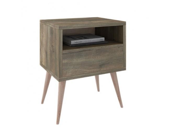Κομοδίνο 1συρτ. 1κενό ξύλινο πόδι   62x60x40  ALN 11710601 - 1