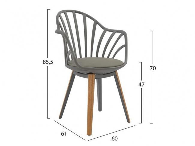 Καρέκλα ANAIS σε γκρι χρώμα HM8049.10 - 2