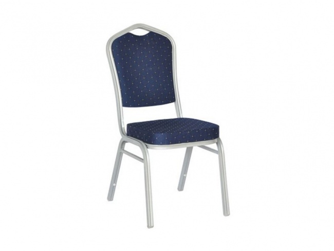 HILTON Καρέκλα Μεταλλική Silver/Ύφασμα Μπλε 44x55x93 εκ.  ΕΜ513,3
