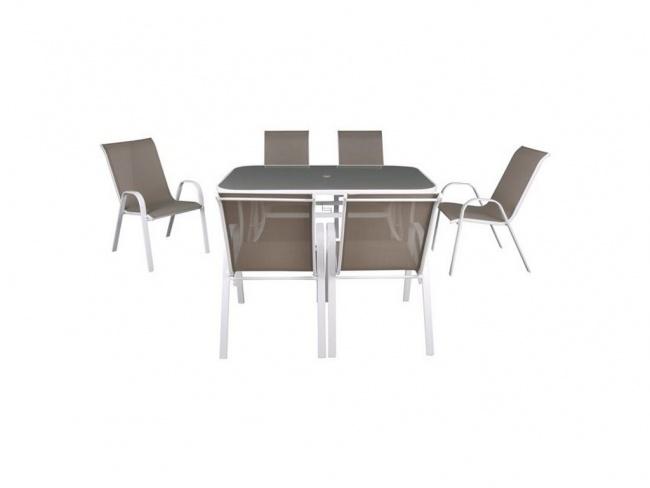 RIO Set (Τραπέζι+6 Πολυθρόνες) Μεταλ.Άσπρο/Textil.Cappuccino  Ε250,2