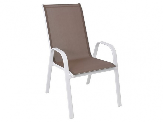 RIO Πολυθρόνα Dining Μετ.Άσπρο/Textil.Cappuccino  Ε270,20