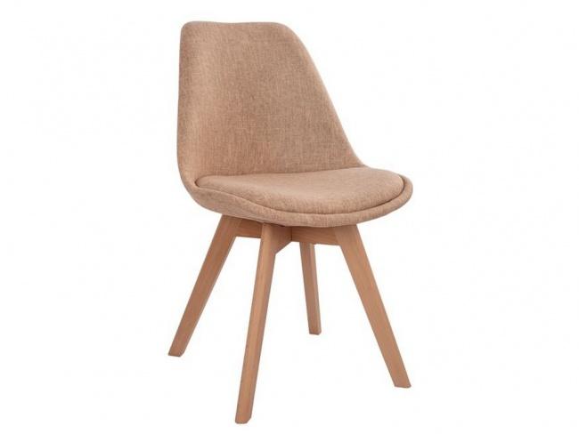 Καρέκλα VEGAS με ξύλινα πόδια & ύφασμα μπεζ HM0033.53 - 1