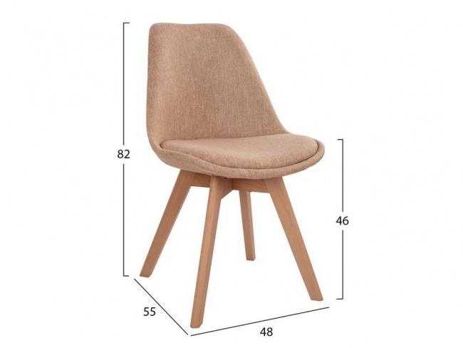 Καρέκλα VEGAS με ξύλινα πόδια & ύφασμα μπεζ HM0033.53 - 2