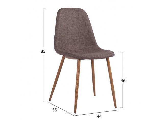 Καρέκλα LEONARDO HM00100.03 με μεταλλικά πόδια & ύφασμα καφέ - 2