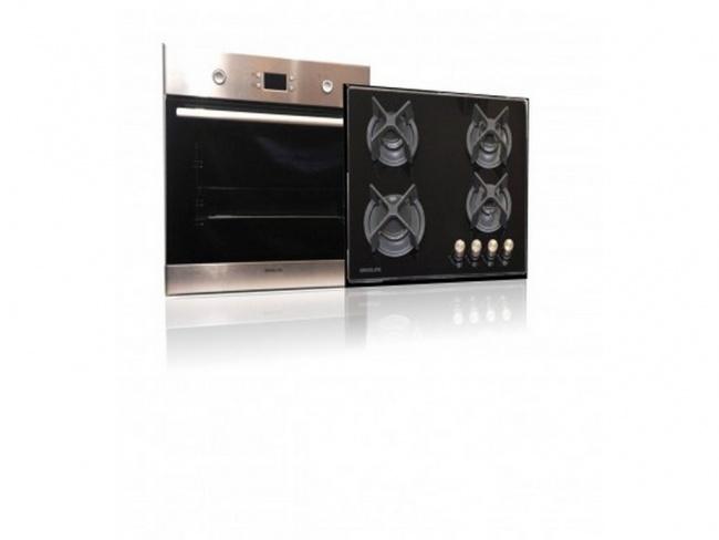Davoline Set OBL 8000 Inox Φούρνος + GOG 400BL Κεραμική Εστία Γκαζιού